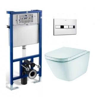 Комплект ROCA:инсталяция ПРО, кнопка,GAP Clean Rim унитаз подвесной,сиденье A34H47C000+A890090020+A890096001
