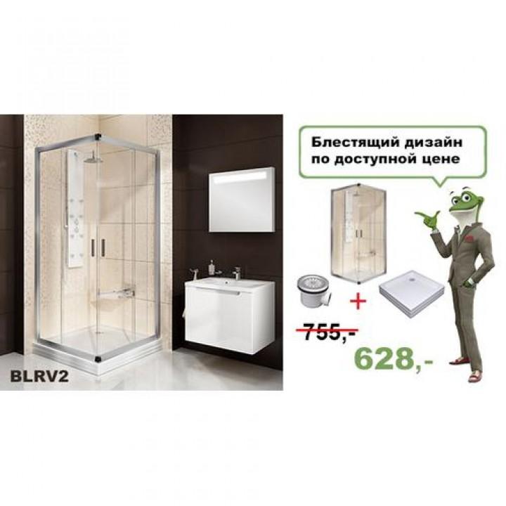 Душевая кабина  Blix BLRV2-90 Полированный алюминий Transparent + Поддон Angela 90 PU-R  + Сифон Basic 90
