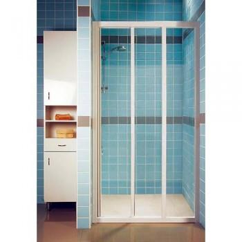 Душевая дверь 100 см RAVAK раздвижная трехэлементная профиль белый витраж Transparent стекло тип ASDP3-100 (артикул 00VA0102Z1)