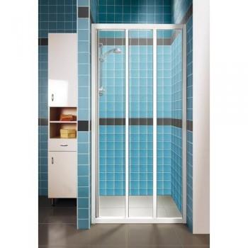 Душевая дверь 110 см RAVAK раздвижная трехэлементная профиль белый витраж полистирол Pearl тип ASDP3-110 (артикул 00VD010211)