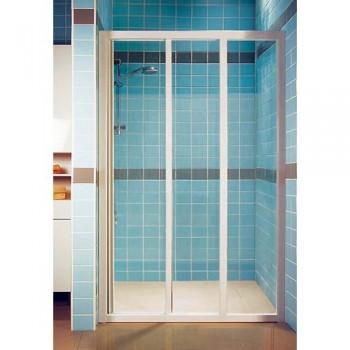 Душевая дверь 120 см RAVAK раздвижная трехэлементная профиль белый витраж полистирол Pearl тип ASDP3-120 (артикул 00VG010211)