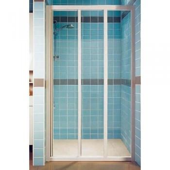 Душевая дверь 130 см RAVAK раздвижная трехэлементная профиль белый витраж полистирол Pearl тип ASDP3-130 (артикул 00VJ010211)