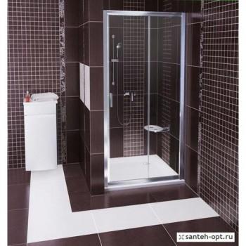 Душевая дверь 100 см RAVAK BLIX тип BLDP2-100 (артикул 0PVA0100Z1) стекло Transparent профиль белый