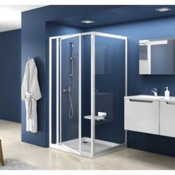 Душевая дверь 100 см RAVAK вращающаяся поворотного типа профиль белый витраж Transparent стекло тип SDOP-100 (артикул 03VA0100Z1)