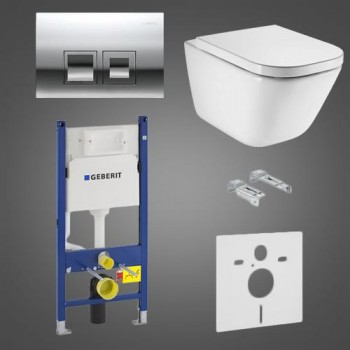 Комплект Geberit Duofix 458.126.00.1 с клавишей 115.135.21.1 + унитаз Roca GAP Clean Rim A34H47C000