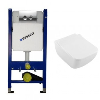 GEBERIT DUOFIX комплект инсталляция 4в1 458.121.21.1+унитаз V&B 4611R001 Venticello Direct Flush