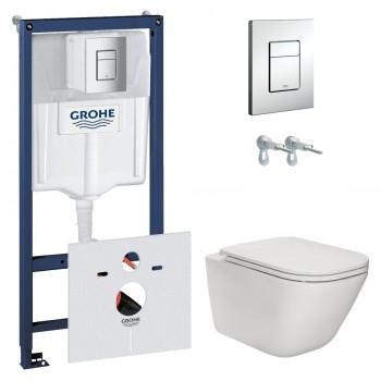 GROHE Комплект инсталляция RAPID SL 38772001 4в1+унитаз ROCA GAP Clean Rim A34H470000 сиденьем Slim, slow-closing