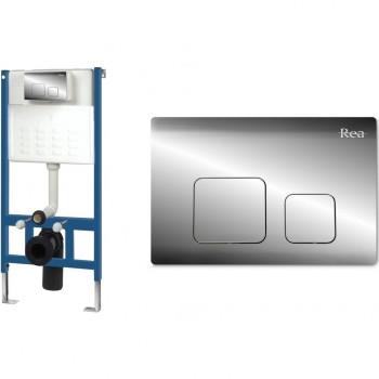 Инсталляционная система Rea для унитаза + кнопка F хром (REA-E0019)