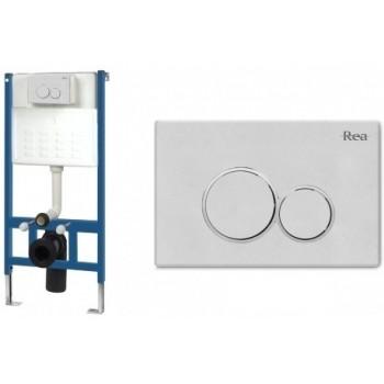 Инсталляционная система Rea для унитаза + кнопка Е белая (REA-E0020)