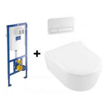 Комплект  Подвесной Villeroy & Boch AVENTO Direct Flush 5656RS01+инсталяция 92246100 ViConnect + ViConnect Е200 хром 92249061