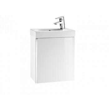 Комплект: A855873806 MINI тумба + умывальник 450Х250Х575мм, правая, подвесная, белый глянец