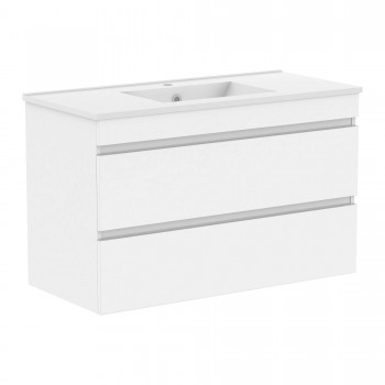 Volle FIESTA 15-100-01 комплект мебели 100 см белый: тумба подвесная + умывальник накладной