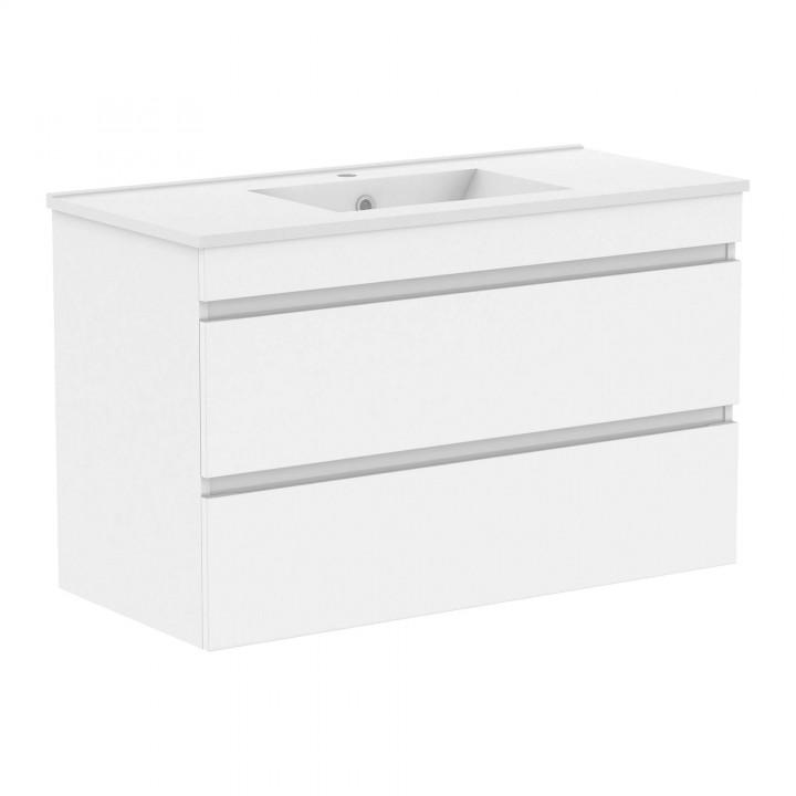 Volle FIESTA 15-100-01 комплект мебели 100см белый: тумба подвесная + умывальник накладной