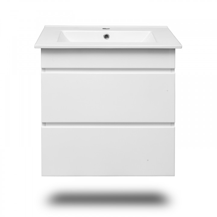 Volle FIESTA 15-600-01 комплект мебели 60см белый: тумба подвесная + умывальник накладной