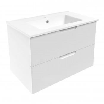 Volle LIBRA 15-41-81 комплект мебели 80 см белый: тумба подвесная + умывальник накладной