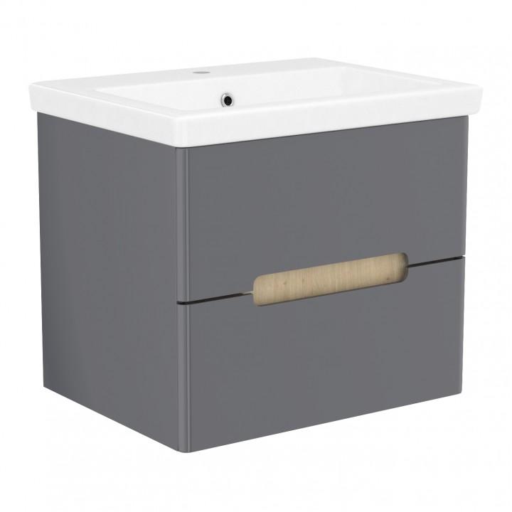 Volle PUERTA 15-16-60G комплект мебели 60 см серый: тумба подвесная + умывальник накладной