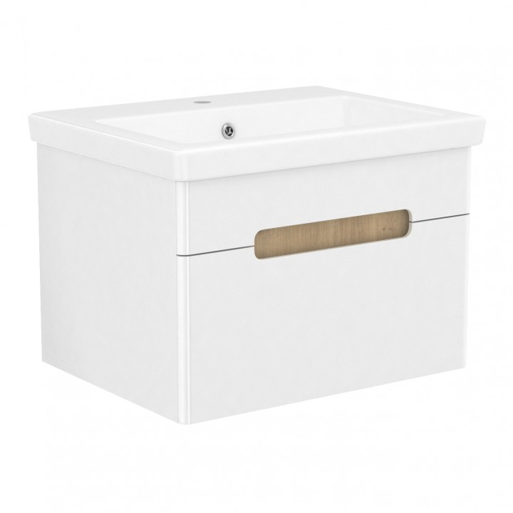 Volle PUERTA 15-16-61 комплект мебели 60 см белый: тумба подвесная + умывальник накладной