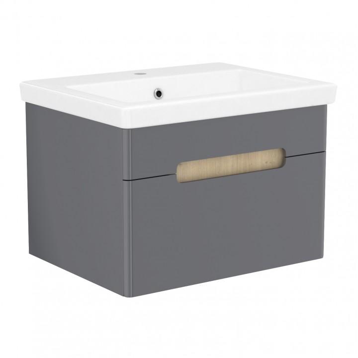 Volle PUERTA 15-16-61G комплект мебели 60 см серый: тумба подвесная + умывальник накладной