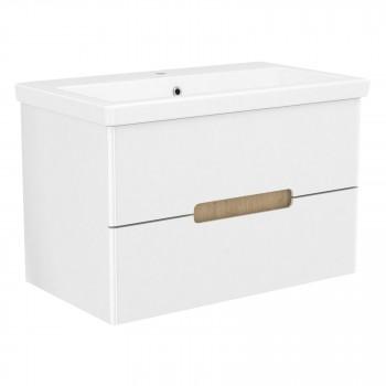 Volle PUERTA 15-16-80 комплект мебели 80 см белый: тумба подвесная + умывальник накладной