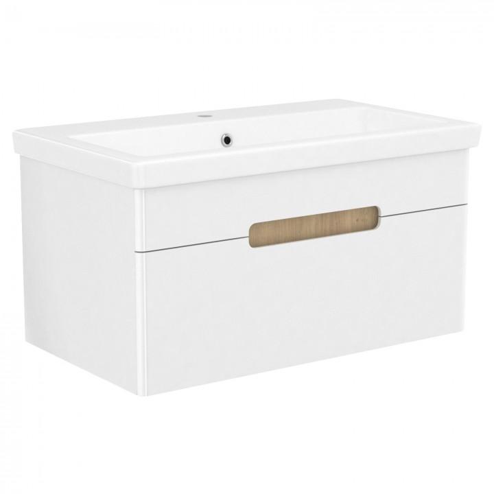 Volle PUERTA 15-16-81 комплект мебели 80 см белый: тумба подвесная + умывальник накладной