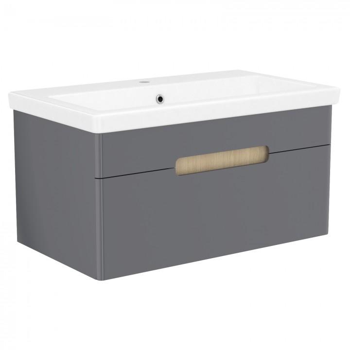 Volle PUERTA 15-16-81G комплект мебели 80 см серый: тумба подвесная + умывальник накладной