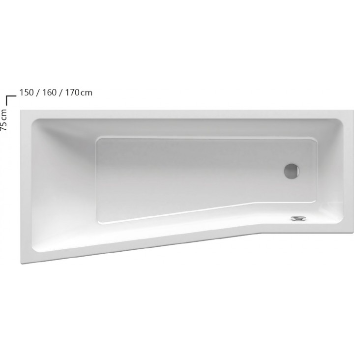 Акриловая ванна BE HAPPY R 160 X 75
