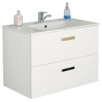 Комплект: 855852806 раковина мебельная Roca VICTORIA 80 см с отверстием + тумба VICTORIA, белая
