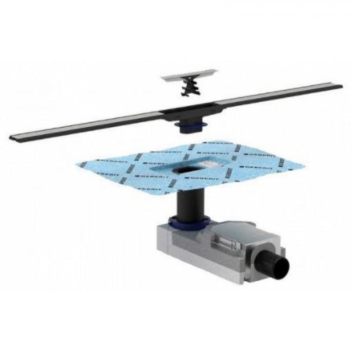 Трап Geberit Cleanline пол от 65 мм,полированный/матовый металл,L30-90см(154.152.00.1+154.450.KS.1)