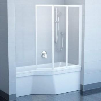 Шторы для ванны Ravak VS3 - 100 TRANSPARENT белый профиль